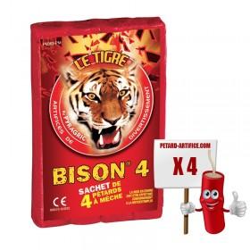 Le tigre Bison 4, le paquet de 4 pétards à mèches à prix discount