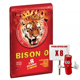 Le tigre Bison 0, le paquet de 8 pétards à mèches à prix discount