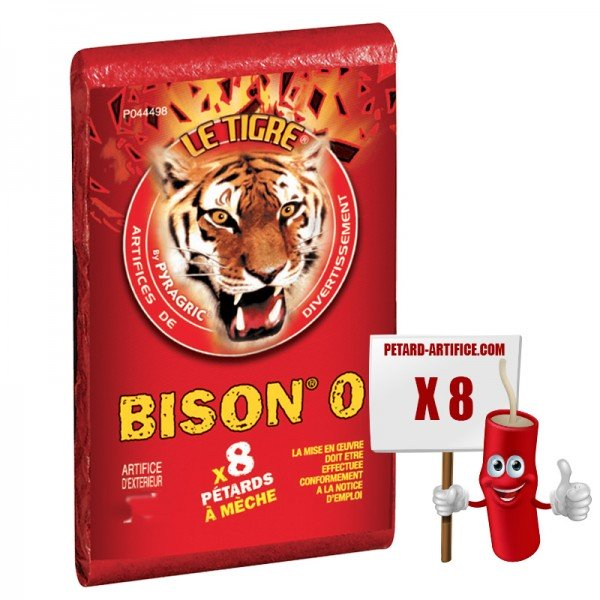 The Bison Tiger 0, the pack of 8 firecrackers at discount prices