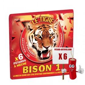 Le tigre Bison 1, le paquet de 6 pétards à mèches à prix discount