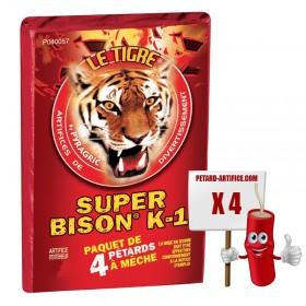 Le tigre Super bison K1, le paquet de 4 pétards à mèches à prix discount