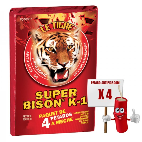 Le tigre Super bison K1, le paquet de 4 pétards à mèches à prix discount