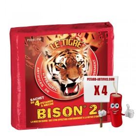Le tigre Bison 2, le paquet de 5 pétards à mèches à prix discount