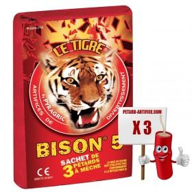 Pétard Bison 5 - LE TIGRE, le paquet de 3 pétards à mèches à prix discount
